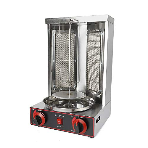 Gas Vertical Shawarma Doner Kebab Machine Gyro Grill with 2 Burner Vertical Broiler Stainless Steel for Commercial Home Restaurant Kitchen