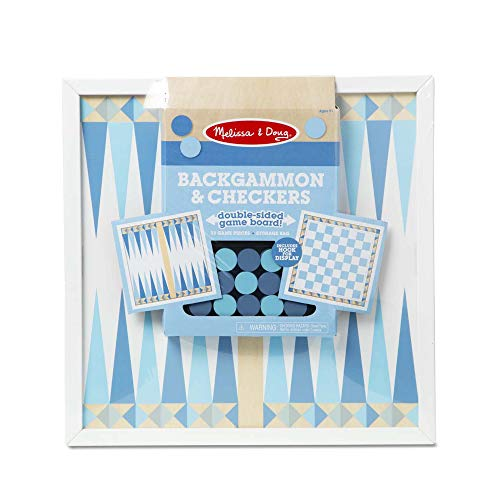 Melissa & Doug Wooden Backgammon & Checkers - Blue