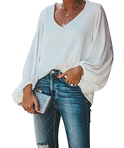 Style Dome Bluse Damen Lange Puffärmel Chiffon Langarmshirt V-Ausschnitt Elegante Oberteile Locker Tunika Tops Weiß L