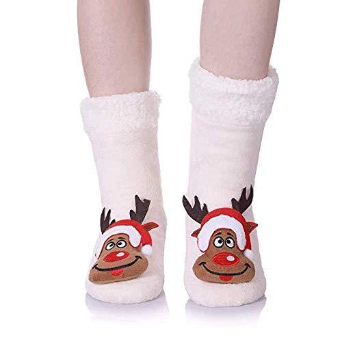 BAONUANM Slipper Sokken, Winter Warm Dikke Zachte Slip Kerstmis Edel Volwassen Slipper Sokken Midden Tube Tapijt Sokken Kerstmis Nieuwjaar