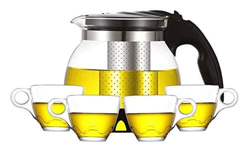 Tetera de vidrio Tetera de vidrio Tetera de cristal Conjunto de té de cristal grueso Tetera resistente al calor Taza elegante Taza de té Taza de la ceremonia Tetera transparente ( Size : 700Ml )