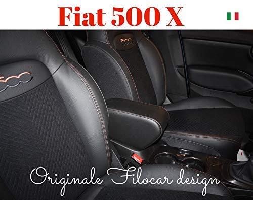 Filocar Design Bracciolo Fiat 500X (Nero con Cuciture ribattute Bronzo)