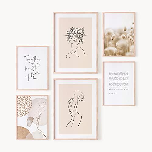 OhBimba Set de Láminas Decorativas Beige - Juego de 6 Láminas (SIN MARCO) - 2 en Tamaño A3 y 4 en Tamaño A4 - Decoración para pared del Hogar - Cuadros decorativos para habitación femenina