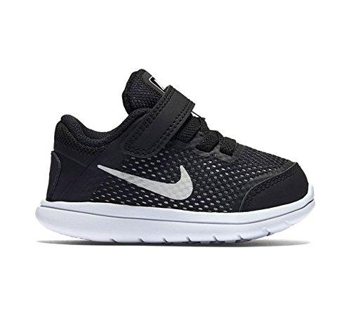 Nike Boy's Flex 2016 RN (TDV) Toddler Running Shoes (5 Toddler M, Black/White/Metallic Silver)