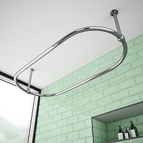 Oval Shower Curtain Rod Ceiling Mount By CBA Oval Shower Curtain Rod For Clawfoot Tub Freestanding Oval Shower Curtain Rod Chrome Finish Size 45X25 Inch