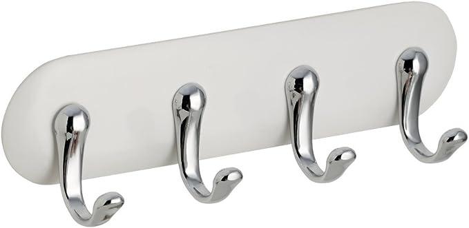 Idesign Affixx Self Adhesive Key Holder With 4 Hooks Plastic Key Hooks For Wall White Small Amazon Co Uk Kitchen Home