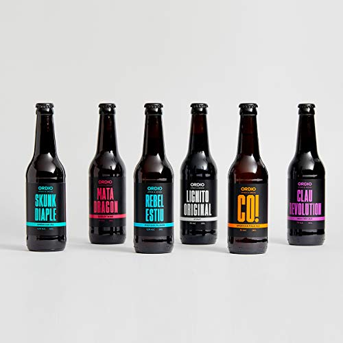 Ordio Minero Cerveza Artesana, Pack Degustacion, Artesanal, Kit de Regalo, Vermouth. Producto Gourmet, 6 Botellas de 0.33 Cl de Matadragons, IPA, Bohemian, Ordio CO, Tostada y Lignito Original