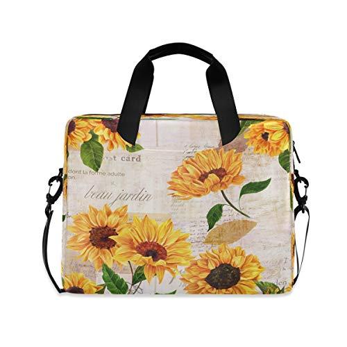Yulife Vintage Flowers Sunflowers Laptop Bag Sleeve Case for Women Men Florals Leaves Briefcase Tablet Messenger Shoulder Bag with Strap Notebook Computer Case 14 15.6 16 Inch for Kids Girls Business