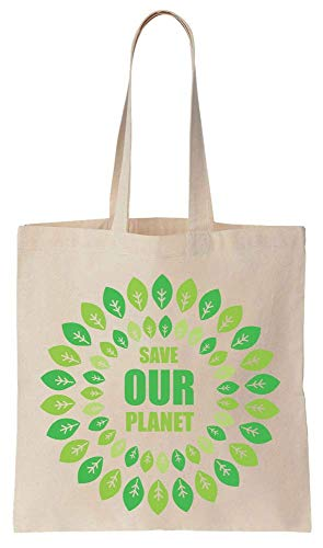 Finest Prints Save Our Planet Green Leaves Mandala Style Design Cotton Canvas Tote Bag