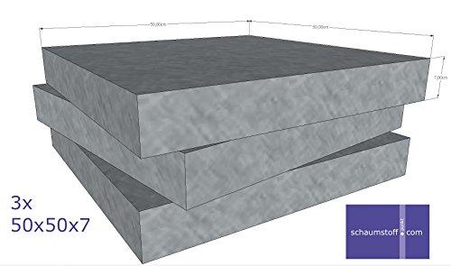Schaumstoff Platten Set 3 Stück a 50x50x7cm Polyurethan gem.Öko Tex St.100 anthrazit RG26 SH40