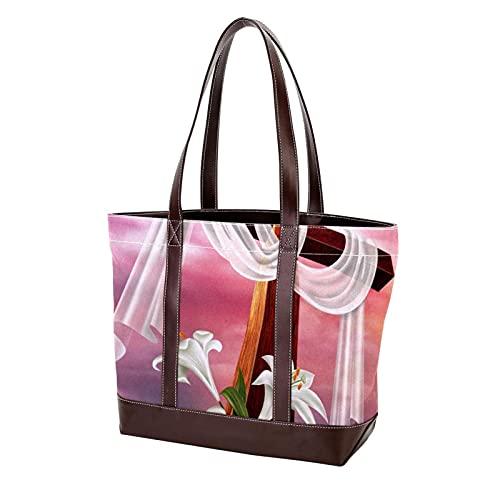 NaiiaN Leichte Riemen Geldbörse Einkaufen für Mutter Frauen Mädchen Damen Student Handtaschen Einkaufstasche Ostern Auferstehung Kreuz Lily Umhängetaschen
