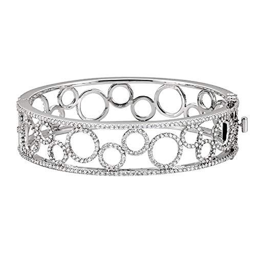 14 Karat Weißgold 6 7/8 Karat Diamant Armreif Armband feiner Schmuck für Frauen