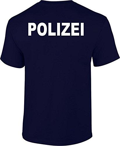 Polizei Unisex-Rundhals T-Shirt beidseitiger Druck Navy S