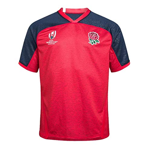 LQWW 2019 World Cup England Rugby Jersey, Men's Polyester Quick Drying T-Shirt Breathable Short Sleeve Rugby Supporters T-Shirt,003,XXXL