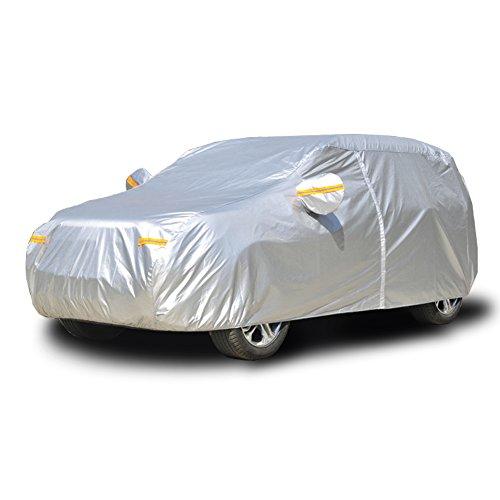 kayme Fundas para Coche Impermeable Todo Clima, Protección contra La Lluvia UV Sun, con Bolsillo Espejo Cremallera para Automóvil, Ajuste SUV (461 A 485cm) YL