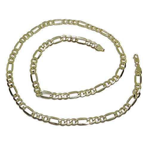 Never Say Never - Catenina in oro giallo 18 carati, da uomo, modello 3 x 1 da 7 mm di spessore per 60 cm di lunghezza, 19,25 g