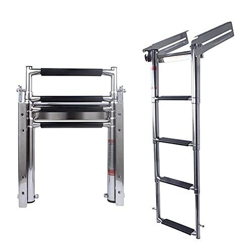 4-Step Ladder Stainless Steel Under Platform Sliding Ladder Boat Boarding Telescoping Ladder - Press-Type Spring Latch