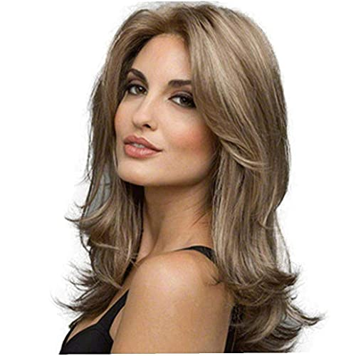 1 PC Lady Wig Ash Blonde Lace Front Wigs Alta Densidade Resistente ao Calor Sintético Cabelo Ondulado Full Wigs for Women (Ash Brown)