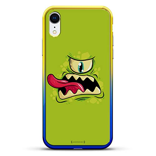 Green One-Eyed Monster Tongue Sticking Out | Luxendary Gradient Series Clear Ultra Thin Silicone Case for iPhone XR (6.1