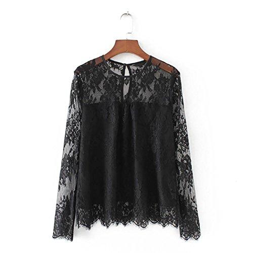 DEELIN Camisa De Encaje Transparente Transparente Vintage De Mujer Camisa De Cuello Alto De Manga Larga para Mujer (M, Negro)