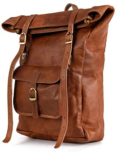 Berliner Bags Sac à Dos en Cuir Leeds M Ouverture roulée Voyage pour Ordinateur Portable 15 Pouces Marron Femme Homme Vintage