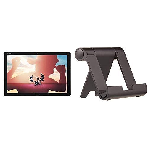 Huawei MediaPad M5 lite WiFi Tablet-PC 25,6 cm, Full HD, Kirin 659, 3 GB RAM, 32 GB interner Speicher, Android 8.0, EMUI 8.0, grau & Amazon Basics Tragbarer Ständer mit Betrachtungswinkel - Schwarz
