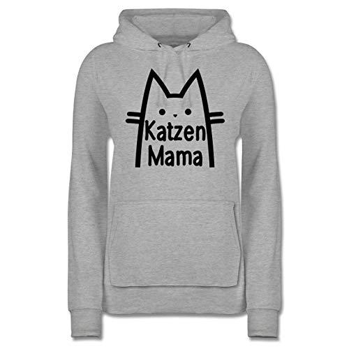 Katzen - Katzen Mama - S - Grau meliert - Pullover Beutel Katze - JH001F - Damen Hoodie und Kapuzenpullover für Frauen