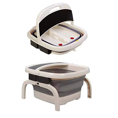 Bathroom Foldaway Luxury Foot Spa + Massager, with Heater/Keep Warm Function, Soothing Vibration Massage, Clever Collapsible and Compact Design The Best Helper in The Bathroom