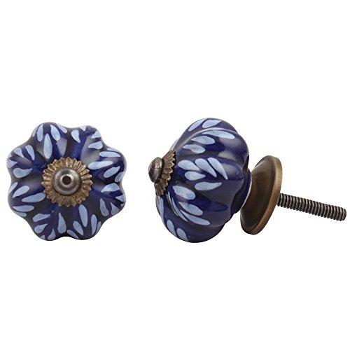 IndianShelf - Tiradores de cerámica hechos a mano con hojas para cajón, puerta de cocina, armario de cocina, tiradores (3,81 cm, azul, 2 piezas)