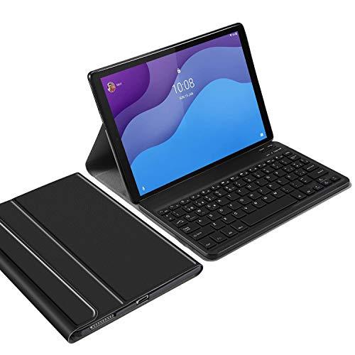 IVSO Español Ñ Teclado para Lenovo Tab M10 HD (2ª generación),para Lenovo Tab M10 HD (2ª generación) Teclado,Funda con Wireless Teclado con Ñ para Lenovo Tab M10 HD Gen 2 10.1 TB-X306X/TB-X306F,Negro