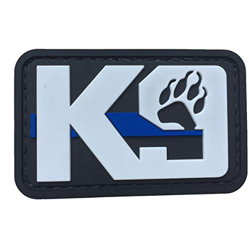 K9 Dog Paw Patch PVC Rubber Tactical Police Law Enforcement Support - Canine Thin Blue Line Patch Hook Fastener Backing by uuKen Tactical Gear (White)