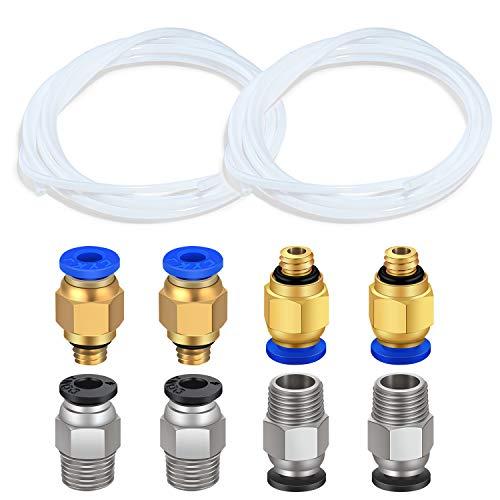 TUZUK 2 pezzi di tubo in teflon PTFE bianco (2 m) con 4 pezzi PC4-M6 attacco rapido e 4 pezzi raccordo pneumatico dritto Spingere per PC4-M10 per il collegamento per stampante 3D Filamento 1,75 mm