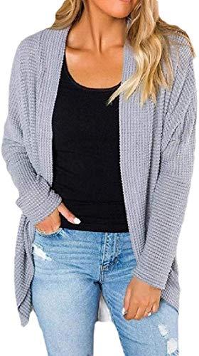 Tegerri Chaqueta de punto de las mujeres frente abierto suéter de manga larga ajuste suelto Outwear Coat