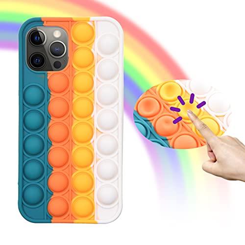 Eco-Fused 1x Carcasa con Juguete Fidget Sensorial de Burbuja Tronable - Funda de Teléfono Protectora de Silicona Compatible con iPhone 12/12 Pro – Protege contra Golpes y Rayones