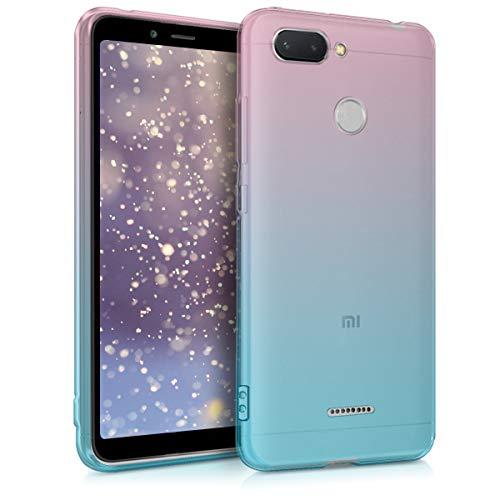 kwmobile Funda Compatible con Xiaomi Redmi 6 - Carcasa de TPU Bicolor - Rosa Fucsia/Azul/Transparente