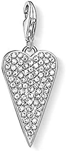 Thomas Sabo - Colgante Charm de Mujer 'Corazón de pavé Charm Club', Plata de Ley 925, Plateado