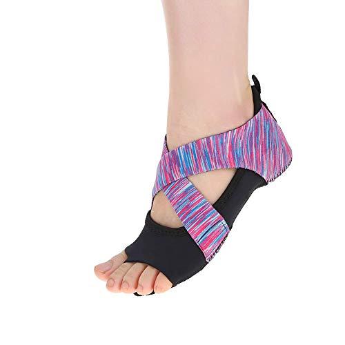 Zapatos Antideslizantes de Yoga , Zapatos Antideslizantes de Yoga para Mujer Pilates Barre Zapatos de Entrenamiento de Baile de Envoltura Suave Púrpura(L(39-40))