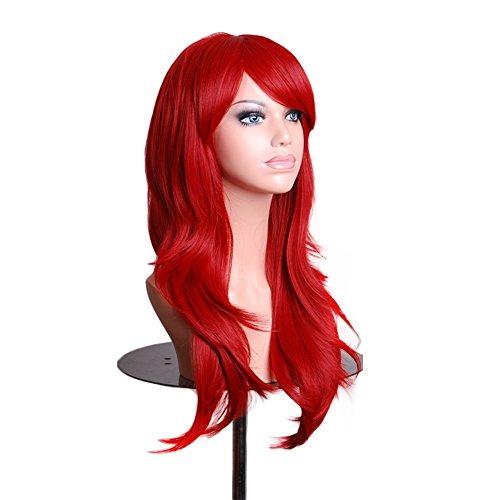 Amurleopard Perruque Cosplay Pour femmes Long Complete boucle ondule Chaleur resistant 70cm rouge