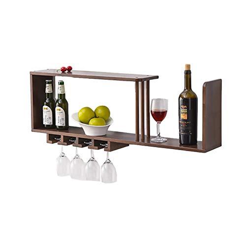 Estantes colgantes para copas de vino Estante de vino montado en la pared, soporte de la taza de la suspensión, soporte de la exhibición de madera, estante de la decoración de la pared para el hogar /