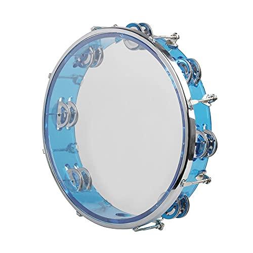 WGOEODI Pandereta de Mano, Instrumento de percusión de Tambor de Mano con Sonido de autoajuste, Regalo para entusiastas de la música portátil, Azul