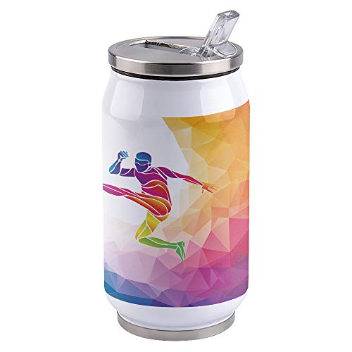 Water Bottle | Vacuum Insulated Stainless Steel Water Bottle 15oz | Polygonal Triangles Colorful Jumping Man Play Football | Double Walled Water Bottles | Wide Mouth with Straw Lid | Leak Proof