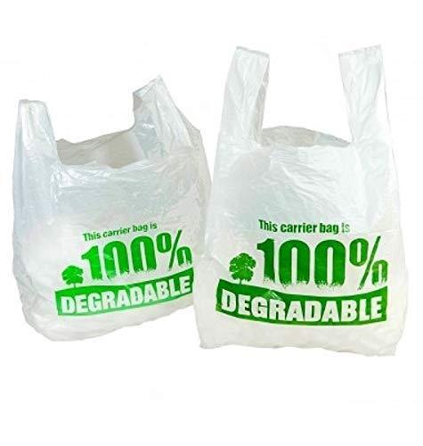Lot de 200 sacs blancs biodégradables en plastique écologique 27,9 x 43,2 x 53,3 cm