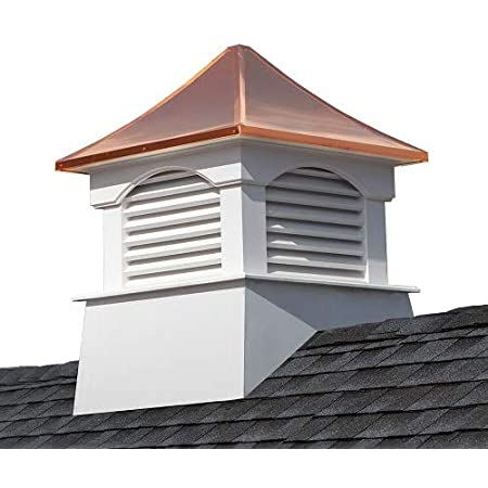 """Good Directions Vinyl Coventry Louvered Cupola with Pure Copper Roof, Maintenance Free Solid Cellular PVC Vinyl, 22"""" x 29"""", Quick Ship, Reinforced Roof and Louvers, Cupolas"""