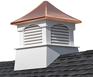"""Good Directions Vinyl Coventry Louvered Cupola with Pure Copper Roof, Maintenance Free Solid Cellular PVC Vinyl, 22"""" x 2..."""