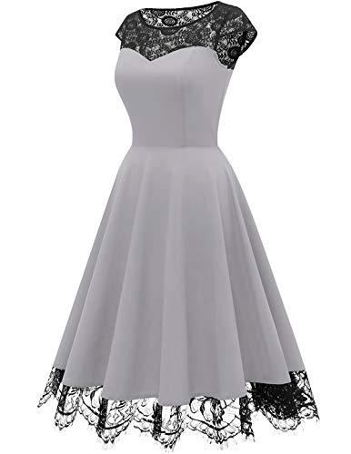 Damen 1950er Spitzenkleid knielang festlich Cocktail Abendkleid - 2