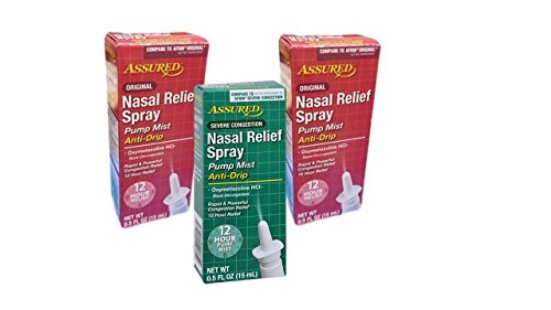 Assured Nasal Relief Spray Oxymetazoline HCL 2 Original 1 Severe Congestion 12 Hour Relief 3 Pack Fast Acting Anti Drip Bundle Pack
