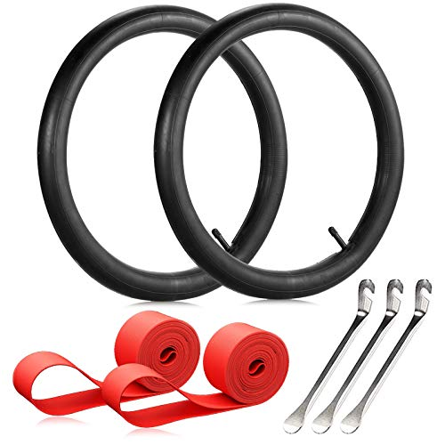 JUXATECH Bike Inner Tube, 26 Inch Bicycle Tube Tyre Bike Interior Tire with 3 Tyre Spoon Iron Tire Levers and 2 Rim Strips Replacement for Most of Bicycles Wheels