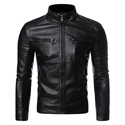 OutTop Faux Leather Jackets for Men Stand Collar Fall Winter Full-Zipper Racer Bomber Motorcycle Jacket Coat Outwear (Black, XXXXL)