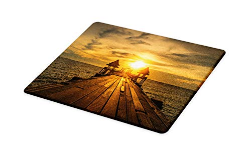 Ambesonne Beach Cutting Board, Wooden Dock Serene Bangkok Bay Morning Sunshine and Ocean Picture Print, Decorative Tempered Glass Cutting and Serving Board, Large Size, Dark Blue Yellow Brown