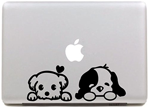 Vati Leaves Removable Creative Flying Two Cute Cartoon Dog Decal Sticker Skin Art Black for Apple Macbook Pro Air Mac 13' 15' inch/Unibody 13' 15'Inch Laptop